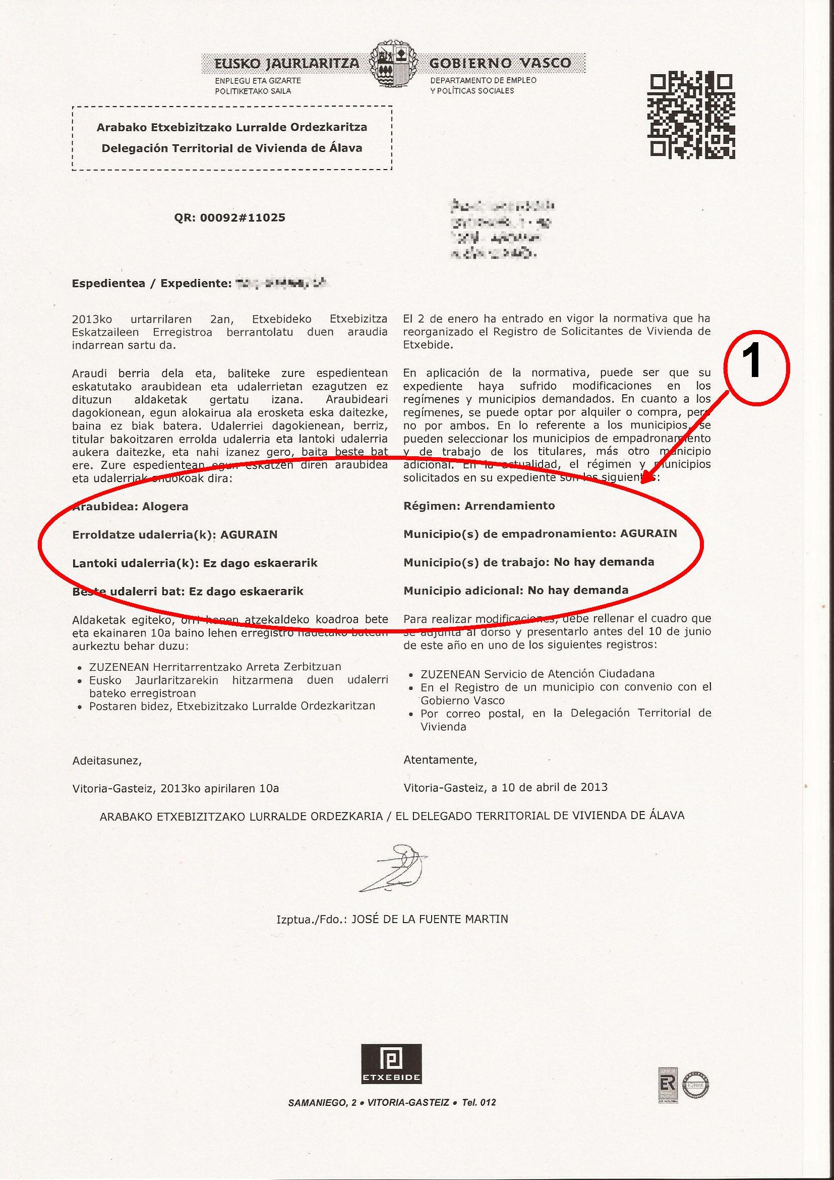 Comunicaci n postal para actualizaci n de solicitud de vivienda 25 04 2013 elrincondelavivienda - Ejemplo certificado energetico piso ...